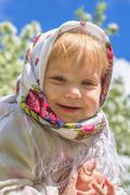 Little girl in the blurred background Stock Photos