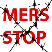 Background barbed wire Stop Mers Corona Virus sign.  Vector Illustration. - stock illustration