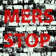 Background brick wall Stop Mers Corona Virus sign.  Vector Illustration. - stock illustration