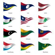 Set  Flags of world sovereign states. Vector illustration. Stock Illustration
