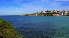 Panning shot of Coogee Beach, Sydney in 4k Stock Footage