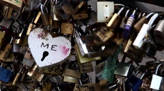 Heart form padlock on Pont des Arts in Paris Stock Footage