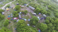 Tourist camp with tents from height. Aerial view Footage