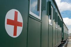 Hospital wagon with red cross Stock Photos