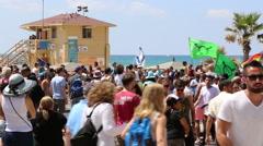 Beach of Tel Aviv during Gay and transgender pride parade in Tel-Aviv - stock footage