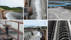 Sewage waste water cleaning plant. Waterworks. Video collage Stock Footage