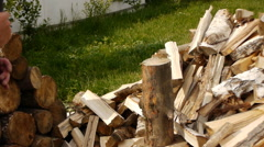 Chopping of firewood Stock Footage