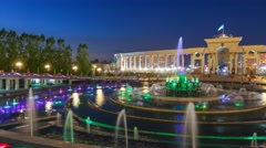 Musical fountains in the First President's Park in Almaty Kazakhstan Stock Footage