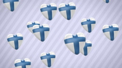 Flying flagged hearts. Finland. Looping. Alpha channel is included. Stock Footage