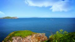 Beautiful Sea, Tile Shift, Howth, Dublin Bay, Ireland Stock Footage