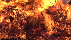 Big flames from the outdoor bonfire at night in sweden Stock Footage