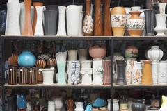 pottery products in shop. - stock photo