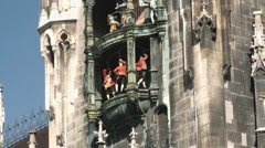 Famous Glockenspiel in Munich, Germany Stock Footage