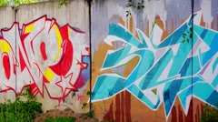 Wall painted with graffiti Stock Footage