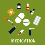 Pills, drugs and medical icons Piirros
