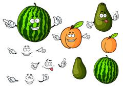 Stock Illustration of Cartoon watermelon, avocado and apricot fruits