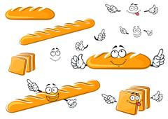 Long loaf, baguette and toast bread characters Stock Illustration