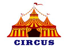 Circus tent with red and yellow stripes - stock illustration
