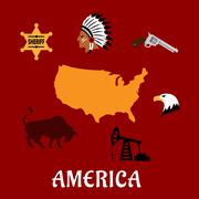 American cultural and historical symbols - stock illustration