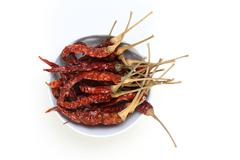 Dried Chili isolated on white background. - stock photo