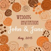 Wedding invitation template with floral border Stock Illustration