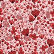 Retro delicate field flowers seamless pattern - stock illustration