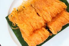 Thai dessert,golden threads. - stock photo