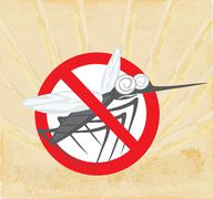 Anti mosquito sign with a funny cartoon mosquito. Stock Illustration