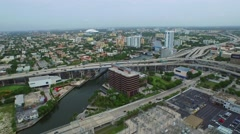 Aerial I95 and the Miami River 4k Stock Footage