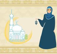 beautiful muslim women on mosque background. - stock illustration