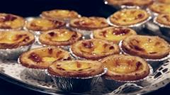 Portuguese Pasteis De Nata Custard Tart Stock Footage