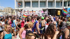 Human massive traffic at gay parade - stock footage
