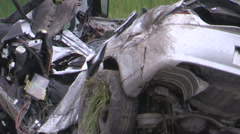 Fatal car accident scene on highway car cut in half and police investigating Stock Footage