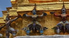 Warrior statue at the temple Wat Phra Kaeo. Grand Palace, Bangkok, Thailand. Stock Footage