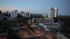 City view at morning. Foz do Iguazu, Brazil. Traffic time-lapse Stock Footage