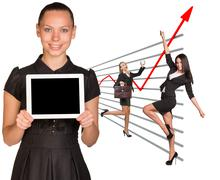Businesslady and graphical chart - stock illustration