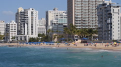 CONDADO BEACH with tourist at beach 4 - stock footage