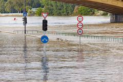 Flooded street n Budapest with traffic sign Stock Photos