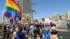The Jewish rainbow flag at the Gay and transgender pride parade with audio - stock footage