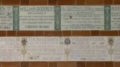 The Memorial to Heroic Self Sacrifice, Postman's Park, City of London, UK. - stock footage