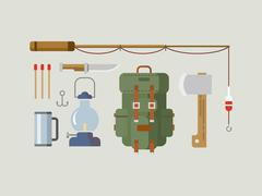 Fishing Hunting Items Flat Design Stock Illustration