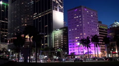 Illuminated  Miami downtown from Bayfront Park at night. Time lapse. Stock Footage