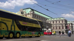 ULTRA HD 4K Busy avenue Opera House old tram wagon Vienna commuter transport day Stock Footage