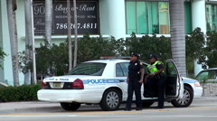 Miami Police patrol on duty at Biscayne boulevard. Moment of rest. Stock Footage