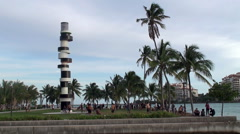 Vacationers people in South Pointe Park of Miami Beach Stock Footage