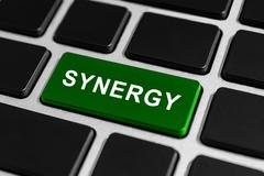 synergy button on keyboard - stock photo