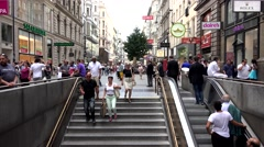 ULTRA HD 4K Timelapse tourism people shopper Vienna commercial street famous day Stock Footage