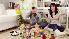 Husband and wife screaming about mess in living room created by daughter Arkistovideo