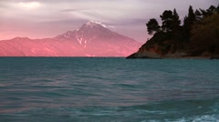 Sacred mount Athos in Greece. Sunset. Stock Footage