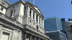 The front facade of the Bank of England, London, UK. - stock footage